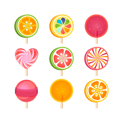 9 delicious lollipop Vector