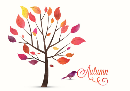 Autumn trees and birds vector material