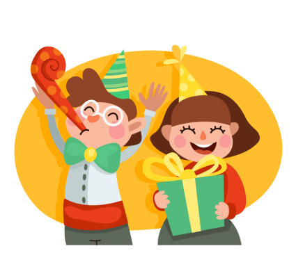 2 children's vector material celebrating birthday