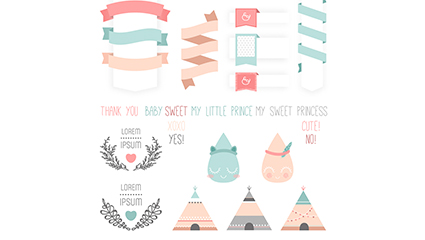 15 color greet infant party element vector