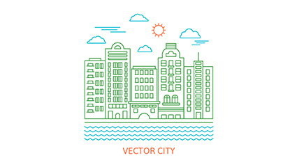 River city building vector