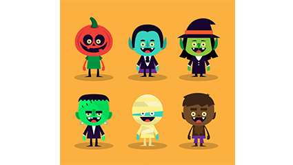 6 Halloween cartoon characters vector material