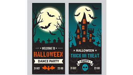 2 Halloween Party Card Vector