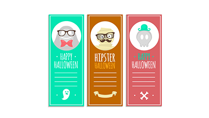3 color Halloween banner Vector