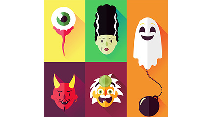 5 Flat Halloween element vector material