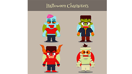 4 color vector material Halloween Cosplay