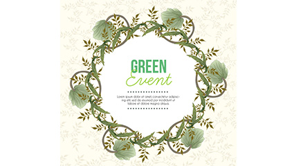 Green twig vine wreath text background vector