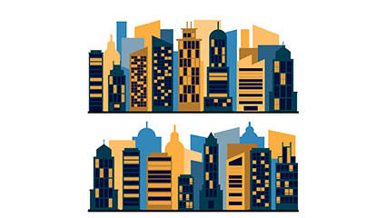 2 groups of urban buildings design vector material