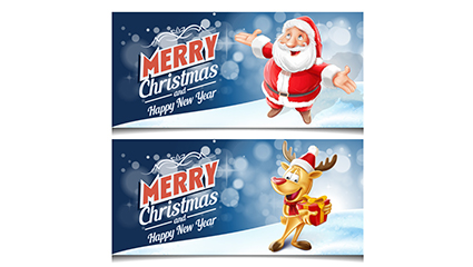 2 Merry Christmas banner vector material Cartoon