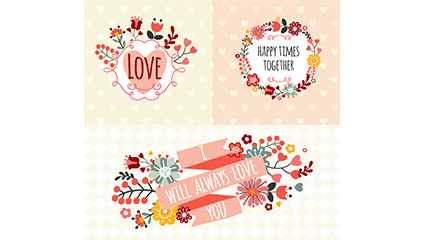 3 fresh flowers label vector material