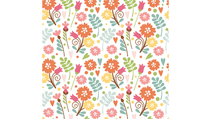 Colored flowers seamless background vector