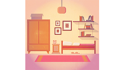 Warm colors bedroom design vector material
