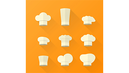 9 white cartoon chef hat vector