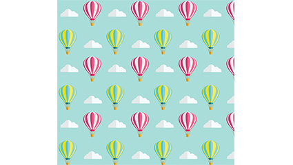 Striped hot air balloon seamless background vector material