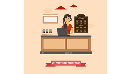 Cafe cashier girl vector material