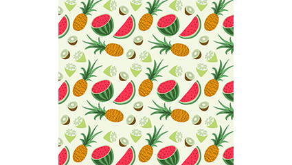 Tropical fruit pineapple and watermelon seamless background vector material