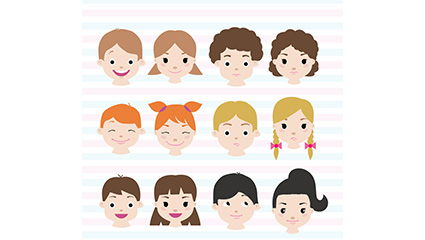 12 Lovely children vector material Avatar