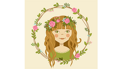 Cartoon girl wearing a garland of vector material