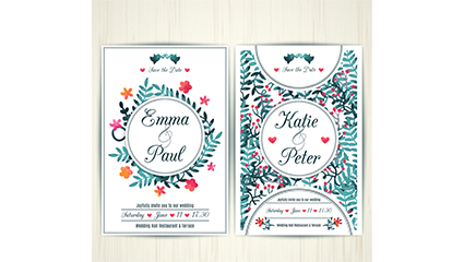 Fresh watercolor wedding invitation card vector material