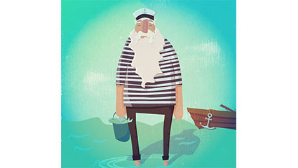 The old sailor sea vector material