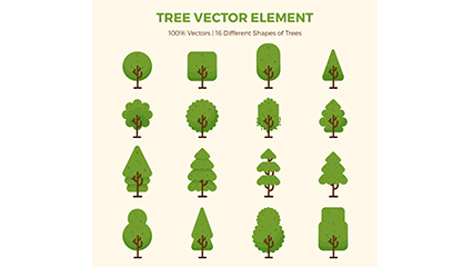 16 of the green trees design vector material