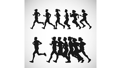 Group 2 runners crowd silhouette vector material