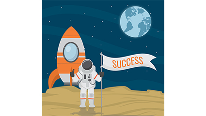 Successful lunar astronauts vector material