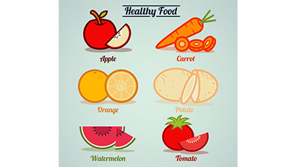 6 healthy food vector material download