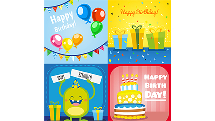 4 cartoon birthday square card vector material