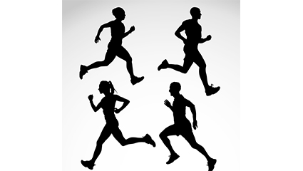 4 running silhouette figures vector material