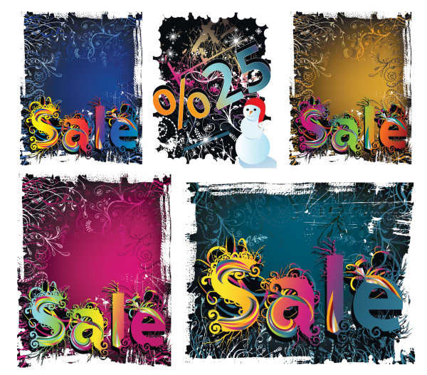 Winter discount sales vector material