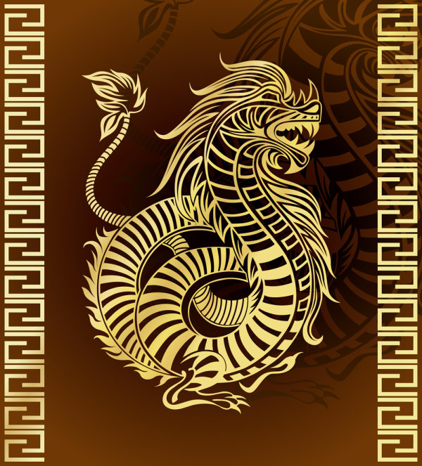 Year of the Dragon patterns 02 - vector material