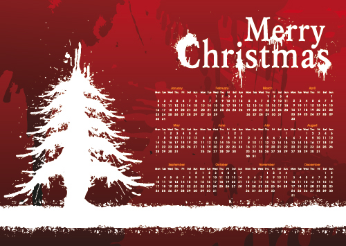 Christmas Day background calendar 01 - vector material