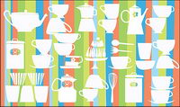 Lovely tableware vector background material