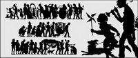 People silhouette Vector classical material