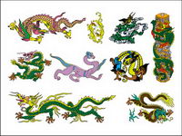 Chinese Classical Dragon Seven of vector material