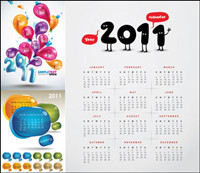3 beautiful 2011 Calendar Vector