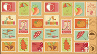 Cartoon illustrations of stamps 04 - vector