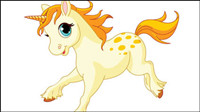 Cute cartoon pony 02-- vector material
