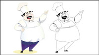 Cartoon characters chef 08-- vector material