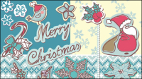 Christmas decoration stickers 01 - vector material