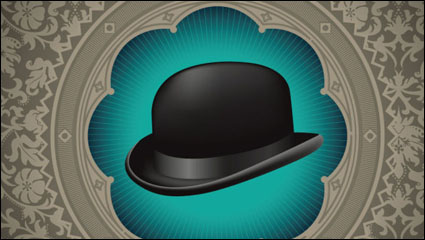 Gentleman hat background 02 - vector
