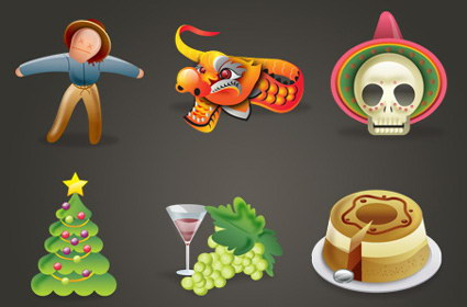 Holiday icon - the Scarecrow, wine, Christmas trees, dragons, cake